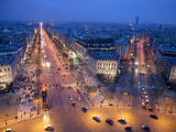 The Champs Elysees at Night from the Arc De Triomphe, Paris, France, Europe Photographic Print by Martin Child
