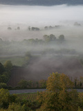 Sunrise over Misty Valley from the Terrace, Vezelay, Burgundy, France, Europe Photographic Print by Nick Servian