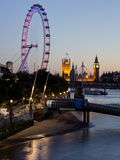 Houses of Parliament, Westminster and London Eye at Dusk, London, England, United Kingdom, Europe Photographic Print by Charles Bowman