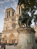 Gothic Notre Dame Cathedral and Statue of Charlemagne Et Ses Leudes, Place Du Parvis Notre Dame, Il Photographic Print by Richard Nebesky