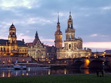 River Elbe, Skyline with Bruhlsche Terrasse, Hofkirche and Palace, Dresden, Saxony, Germany, Europe Photographic Print by Hans-Peter Merten
