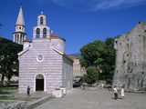 Sveti Trojice (Holy Trinity) Church and Citadel Walls, Old Town, Budva, the Budva Riviera, Monteneg Photographic Print by Stuart Black