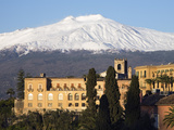 View over Taormina and Mount Etna with Hotel San Domenico Palace, Taormina, Sicily, Italy, Europe Photographic Print by Stuart Black