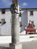 Inscribed Column at the Entrance Gate to the Medieval Walled City of Obidos, Estremadura, Portugal, Photographic Print by Stuart Forster