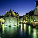Canal and Palais De L`Ile at Dusk, Annecy, Lake Annecy, Rhone Alpes, France, Europe Photographic Print by Stuart Black