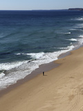 A Solitary Man Walks an Otherwise Empty Golden Beach, on the Atlantic Coastline, Near Lagos, Algarv Photographic Print by Stuart Forster