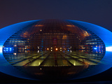 National Centre for the Performing Arts, Egg Shape Reflection, Illuminated During National Day Fest Photographic Print by Kimberly Walker