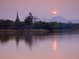 Wat Sa Si at Dusk, Sukhothai Historical Park, UNESCO World Heritage Site, Sukhothai Province, Thail Photographic Print by Ben Pipe