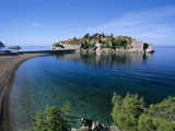 View of Island and Beach, Sveti Stefan, the Budva Riviera, Montenegro, Europe Photographic Print by Stuart Black