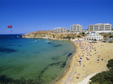 Sandy Beach with Radisson Sas Hotel, Golden Bay, Malta, Mediterranean, Europe Photographic Print by Stuart Black