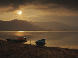 Local Fishing Boats on Phewa Lake at Sunset, Gandak, Nepal, Asia Photographic Print by Mark Chivers