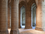Crypt of the Massive Pillars, Mont St. Michel Abbey, UNESCO World Heritage Site, Normandy, France,  Photographic Print by Nick Servian