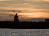 Sunset over Windmill on Salt Beds, Trapani, Sicily, Italy, Mediterranean, Europe Photographic Print by Stuart Black