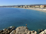 Beach and Promenade Des Anglais, Nice, Alpes Maritimes, Provence, Cote D'Azur, French Riviera, Fran Photographic Print by Peter Richardson