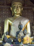 Sitting Buddha in the Main Temple, Wat Xieng Thong, UNESCO World Heritage Site, Luang Prabang, Laos Photographic Print by Richard Maschmeyer