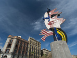Sculpture Entitled Barcelona Head by Roy Lichtenstein, Placa D'Antoni Lopez, Barcelona, Catalonia,  Photographic Print by Sergio Pitamitz