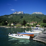 Rowing Boats Along Lake Shore, Talloires, Lake Annecy, Rhone Alpes, France, Europe Photographic Print by Stuart Black