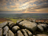 Sunset over Baslow, Curbar Edge, Peak District National Park, Derbyshire, England, United Kingdom,  Photographic Print by Chris Hepburn