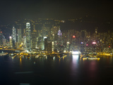 High View of the Hong Kong Island Skyline and Victoria Harbour at Night, Hong Kong, China, Asia Photographic Print by Amanda Hall