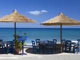 Beach Cafe, Kato Zakros, Lasithi Region, Crete, Greek Islands, Greece, Europe Fotografisk tryk af Stuart Black