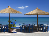 Beach Cafe, Kato Zakros, Lasithi Region, Crete, Greek Islands, Greece, Europe Lámina fotográfica por Stuart Black