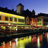 Canal Side Restaurants Below the Chateau at Dusk, Annecy, Lake Annecy, Rhone Alpes, France, Europe Photographic Print by Stuart Black