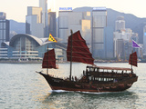 Chinese Junk Boat Sails on Victoria Harbour, Hong Kong, China, Asia Photographic Print by Amanda Hall