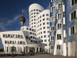 Neuer Zollhof Office Buildings with Rheinturm in Background, Medienhafen, Dusseldorf, Germany, Euro Photographic Print by David Clapp