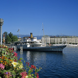Paddle Steamer Beside the Prom Du Lac, Geneva, Lake Geneva (Lac Leman), Switzerland, Europe Photographic Print by Stuart Black