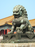 Bronzed Lion Guards Gate of Heavenly Purity, Forbidden City, UNESCO Site, Beijing, China, Asia Photographic Print by Kimberly Walker