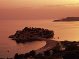 Sunset over Island of Sveti Stefan, Sveti Stefan, the Budva Riviera, Montenegro, Europe Photographic Print by Stuart Black