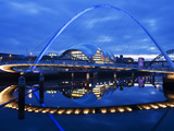 Gateshead Millennium Bridge, the Sage and the River Tyne Between Newcastle and Gateshead, at Dusk,  Photographic Print by Mark Sunderland