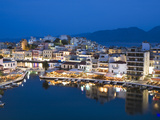 View over Harbour and Restaurants at Dusk, Ayios Nikolaos, Lasithi Region, Crete, Greek Islands, Gr Photographic Print by Stuart Black