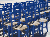 Blue Greek Restaurant Chairs, Crete, Greek Islands, Greece, Europe Photographic Print by Stuart Black