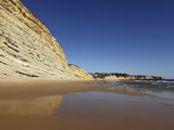Golden Sands and Steep Stratified Cliffs, Typical of the Atlantic Coastline Near Lagos, Algarve, Po Photographic Print by Stuart Forster