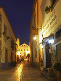 Rua Direita at Night, the Cobbled Street That Runs Through the Mediaval Walled City of Obidos, Estr Photographic Print by Stuart Forster