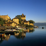 View of Harbour at Sunrise, Yvoire, Lake Geneva (Lac Leman), Rhone Alpes, France, Europe Photographic Print by Stuart Black