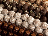 Close-Up of Rows of Chocolates in a French Cafe, France, Europe Photographic Print by Frank Fell