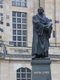 Martin Luther Statue in Dresden, Saxony, Germany, Europe Fotografisk tryk af Michael Runkel