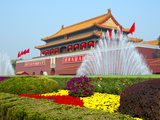 Heavenly Gate Entrance to Forbidden City Decorated with Fountains and Flowers During National Day F Photographic Print by Kimberly Walker