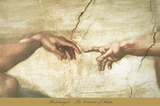The Creation of Adam (detail) Art by  Michelangelo Buonarroti