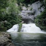 Waterfall of River Lison Emerging from Underground, Source Du Lison, Nans Sous St. Anne, Jura, Fran Photographic Print by Stuart Black