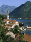 View over Village with the Church of St. Nikola Belfry, Perast, the Boka Kotorska (Bay of Kotor), U Photographic Print by Stuart Black