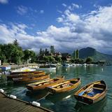 Rowing Boats Along Lake Shore, Talloires, Lake Annecy, Rhone Alpes, France, Europe Photographic Print by Stuart Black