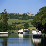View Along the Burgundy Canal to the Chateau, Chateauneuf, Burgundy, France, Europe Photographic Print by Stuart Black