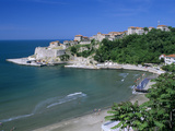 View over Beach to the Old Fortified City, Ulcinj, Haj-Nehaj, Montenegro, Europe Photographic Print by Stuart Black