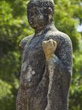 Buddha Statue at Ancient Mudu Maha Vihara Temple, Part Buried in Coastal Sand, Pottuvil, Arugam Bay Photographic Print by Robert Francis