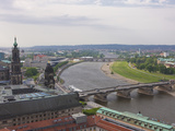 View over Dresden and the River Elbe, Saxony, Germany, Europe Fotografiskt tryck av Michael Runkel