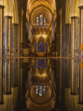 Looking across the Font and Down the Nave of Salisbury Cathedral, Wiltshire, England, United Kingdo Photographic Print by Julian Elliott
