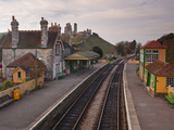 Looking across Corfe Castle Station from the Footbridge, Dorset, England, United Kingdom, Europe Photographic Print by Julian Elliott